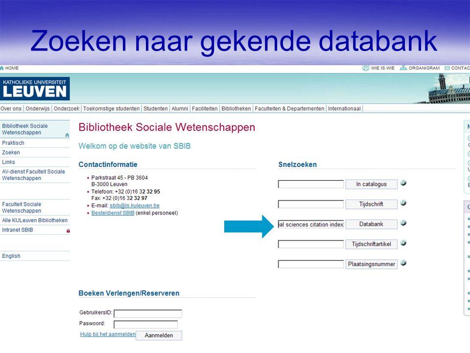 Zoeken naar gekende databank