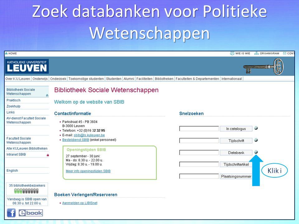 Zoek databanken voor Politieke Wetenschappen Klik i
