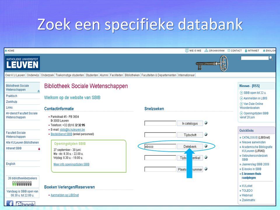 Zoek een specifieke databank
