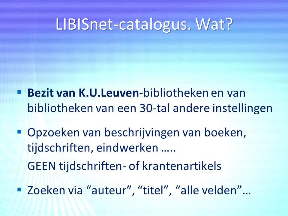 LIBISnet-catalogus. Wat.