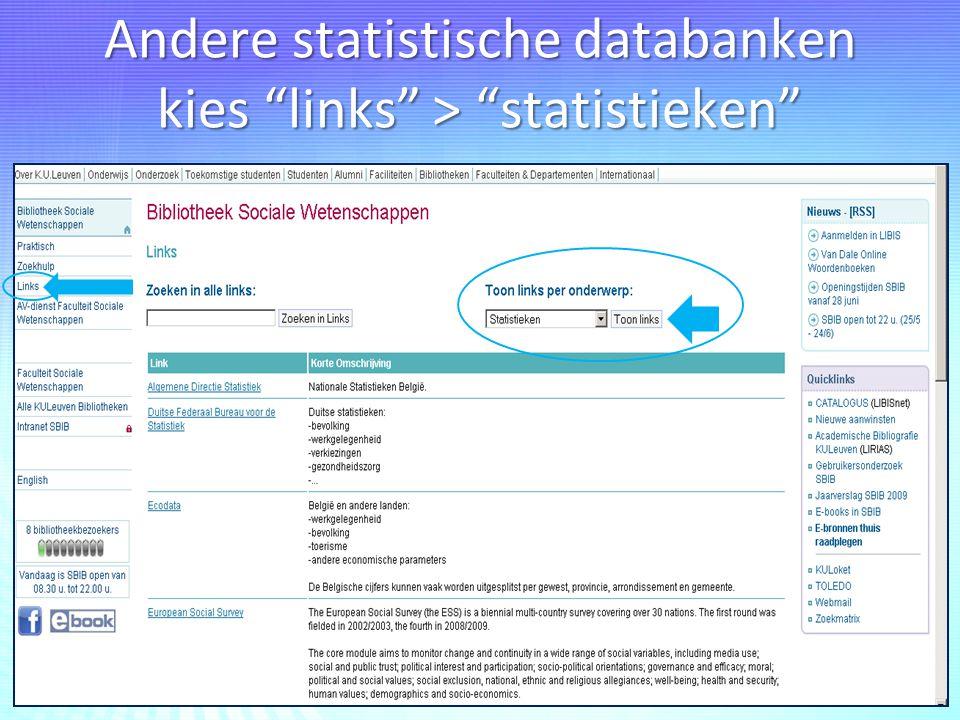 Andere statistische databanken kies links > statistieken