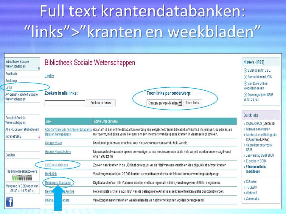"""Full text krantendatabanken: """"links"""">""""kranten en weekbladen"""""""