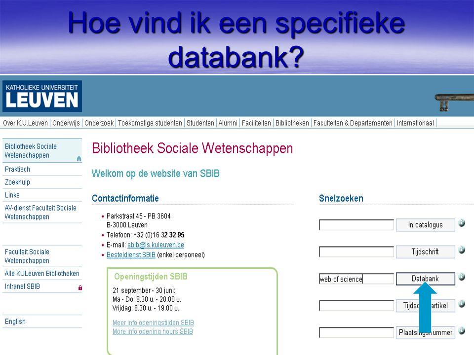 Hoe vind ik een specifieke databank?