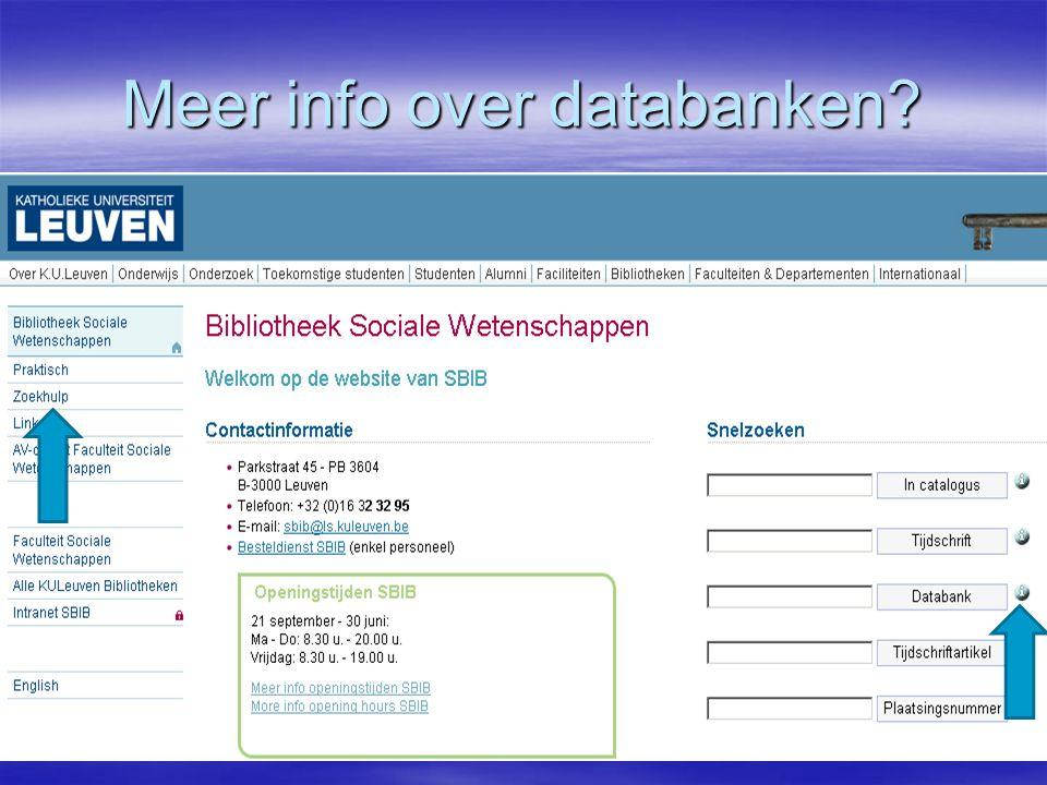 Meer info over databanken