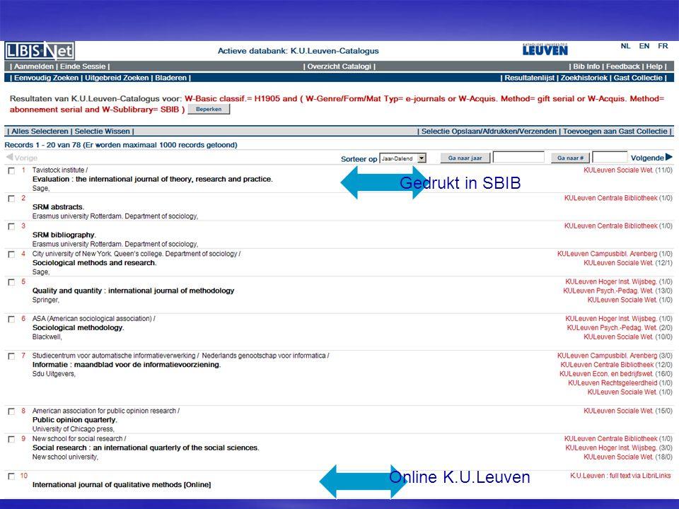 Gedrukt in SBIB Online K.U.Leuven