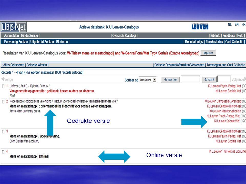 Gedrukte versie Online versie