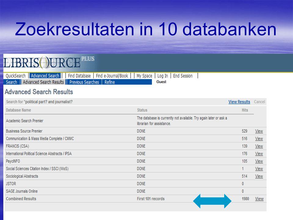 Zoekresultaten in 10 databanken
