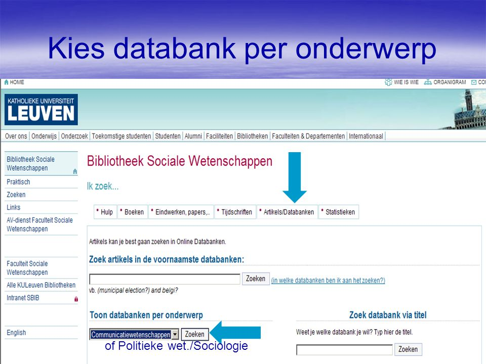 Kies databank per onderwerp of Politieke wet./Sociologie