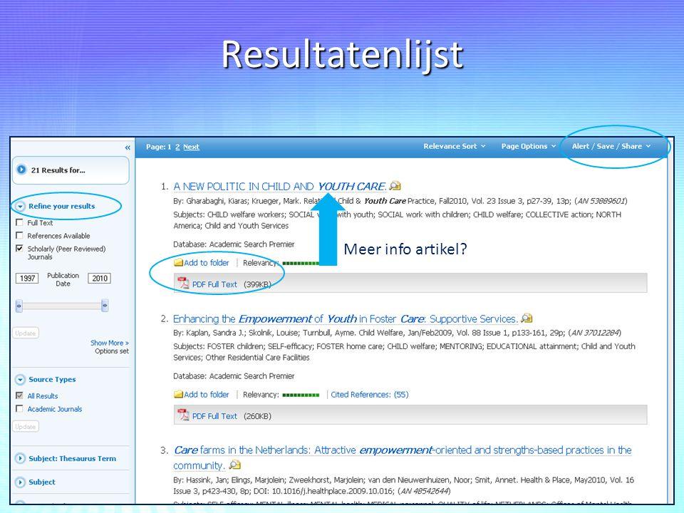 Resultatenlijst Meer info artikel