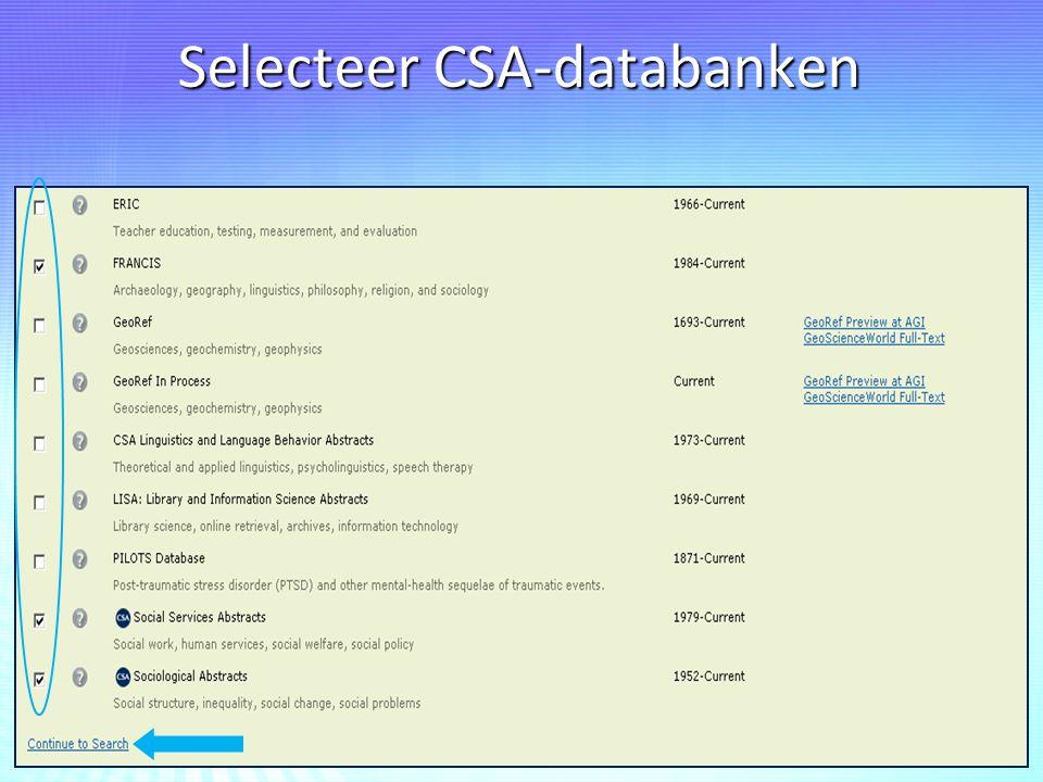 Selecteer CSA-databanken