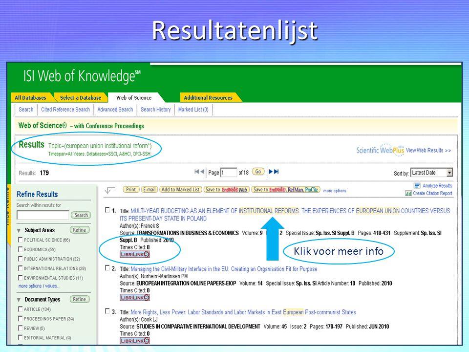 Resultatenlijst Klik voor meer info
