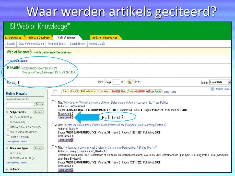 Waar werden artikels geciteerd? 23-sep-1433 Full text?