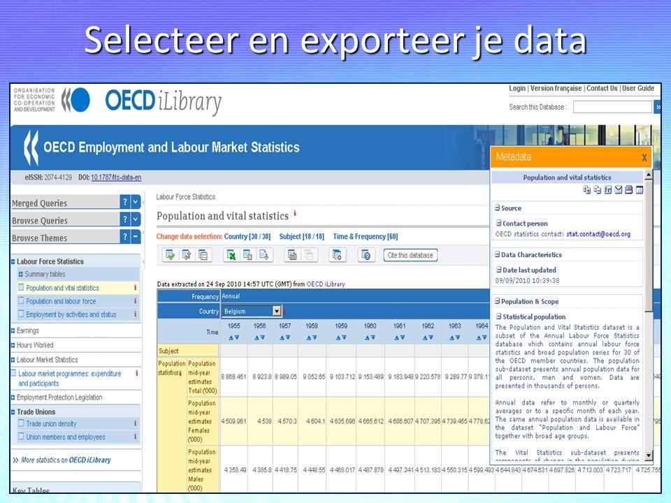 Selecteer en exporteer je data