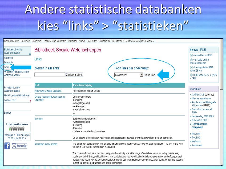 """Andere statistische databanken kies """"links"""" > """"statistieken"""""""
