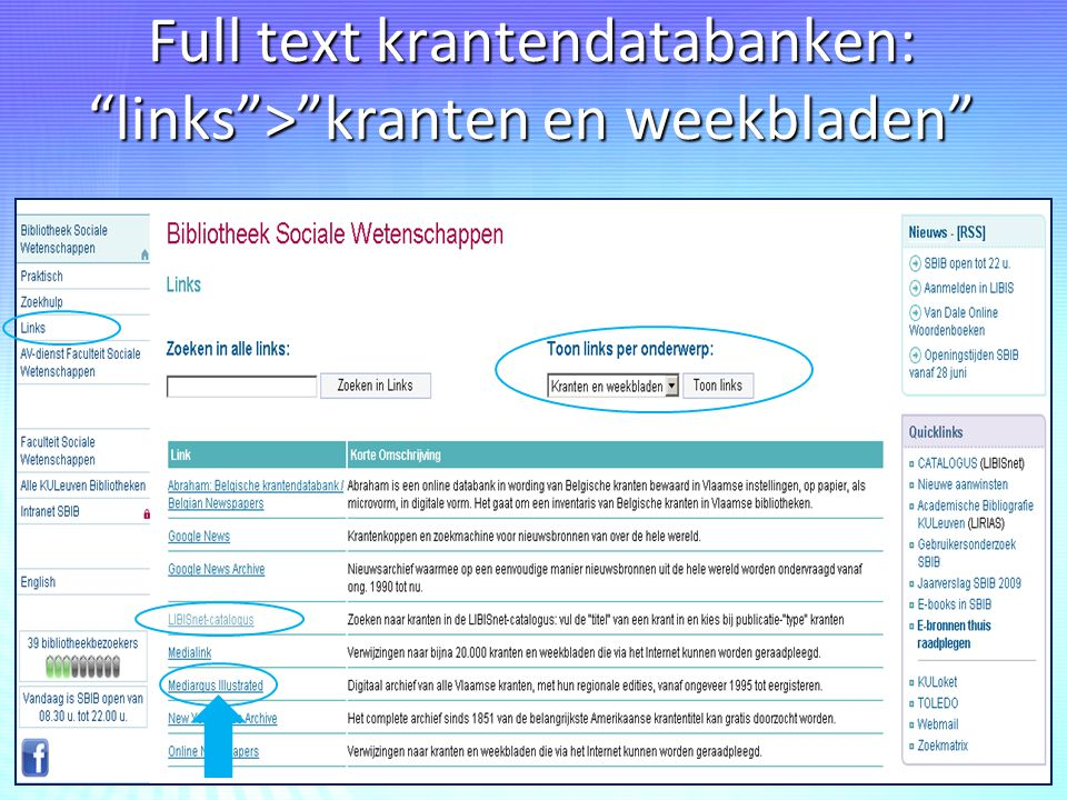 Full text krantendatabanken: links > kranten en weekbladen