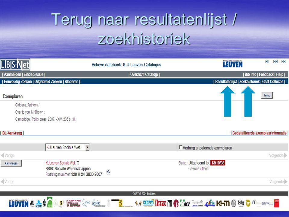 Terug naar resultatenlijst / zoekhistoriek