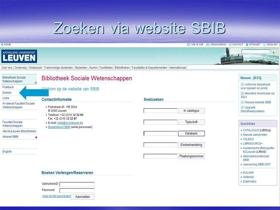 Zoeken via website SBIB