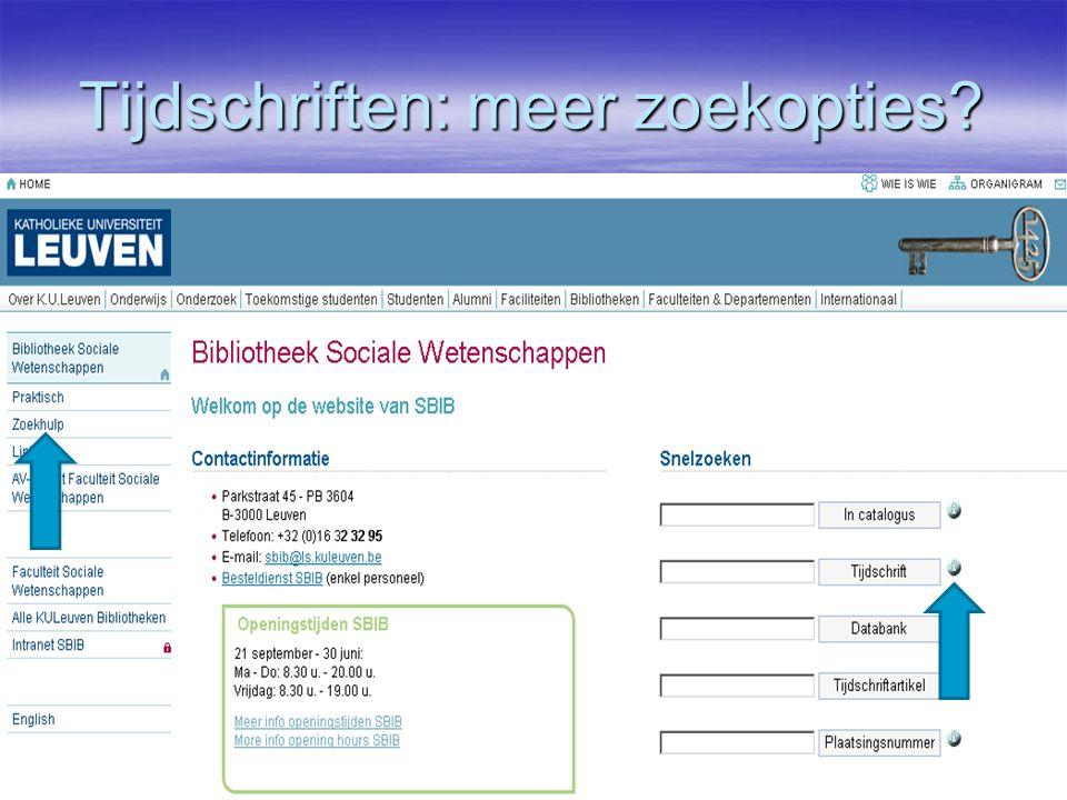 Tijdschriften: meer zoekopties  Homepagina of zoekhulp
