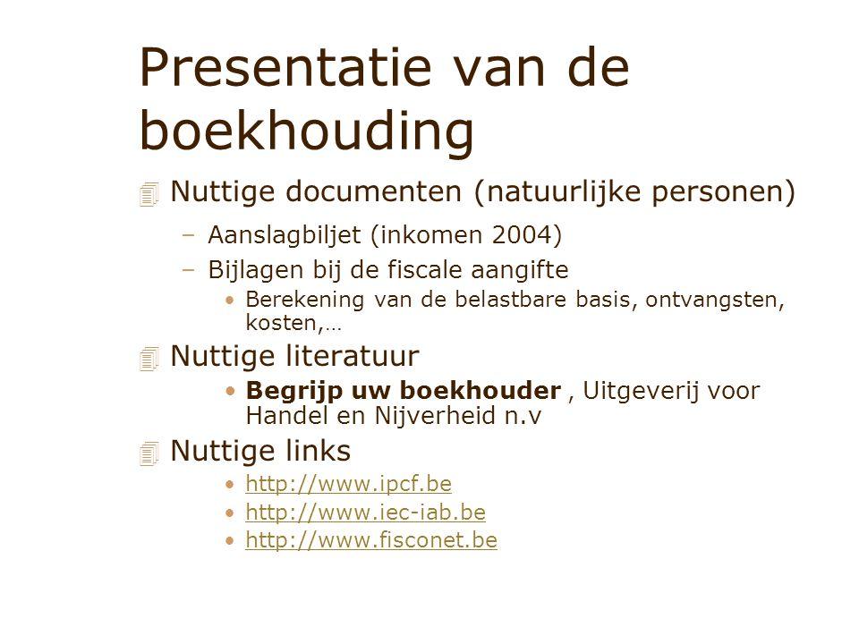 Presentatie van de boekhouding 4 Nuttige documenten (natuurlijke personen) –Aanslagbiljet (inkomen 2004) –Bijlagen bij de fiscale aangifte Berekening