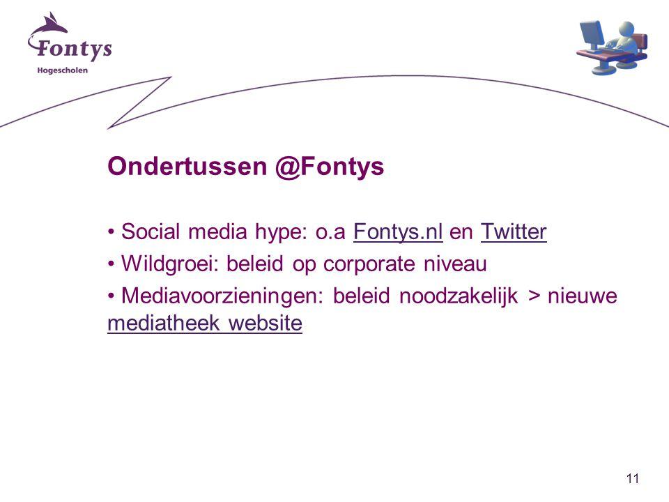 11 Ondertussen @Fontys Social media hype: o.a Fontys.nl en TwitterFontys.nlTwitter Wildgroei: beleid op corporate niveau Mediavoorzieningen: beleid noodzakelijk > nieuwe mediatheek website mediatheek website