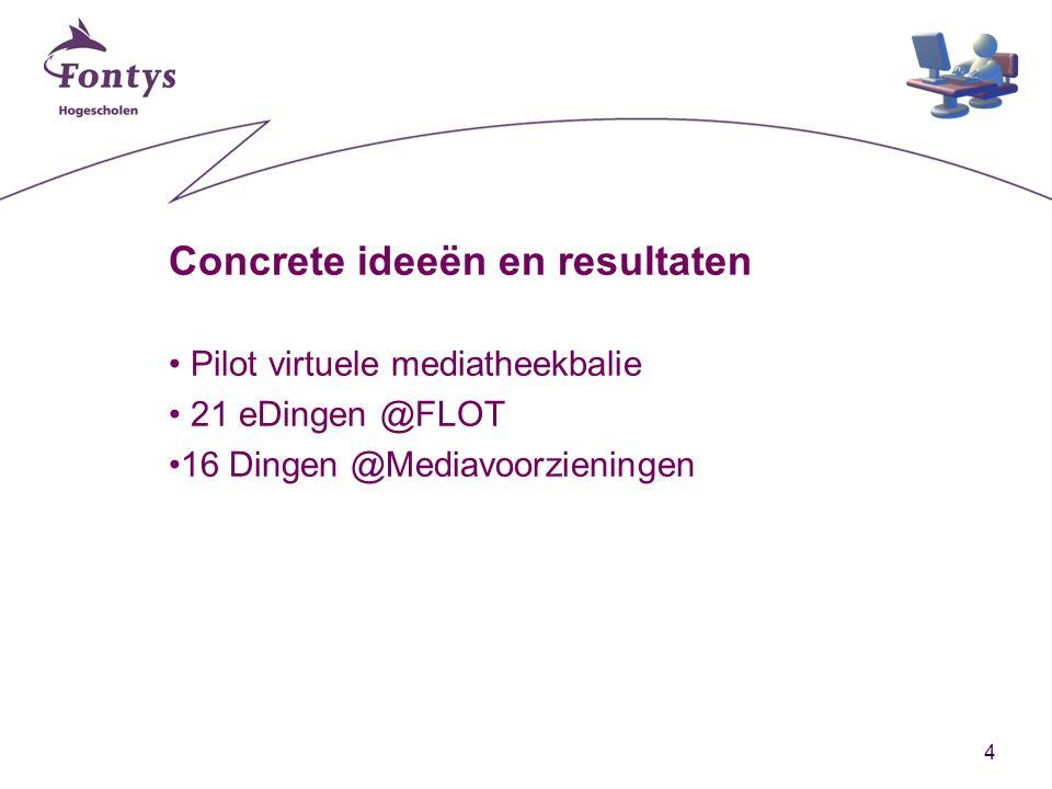 4 Concrete ideeën en resultaten Pilot virtuele mediatheekbalie 21 eDingen @FLOT 16 Dingen @Mediavoorzieningen