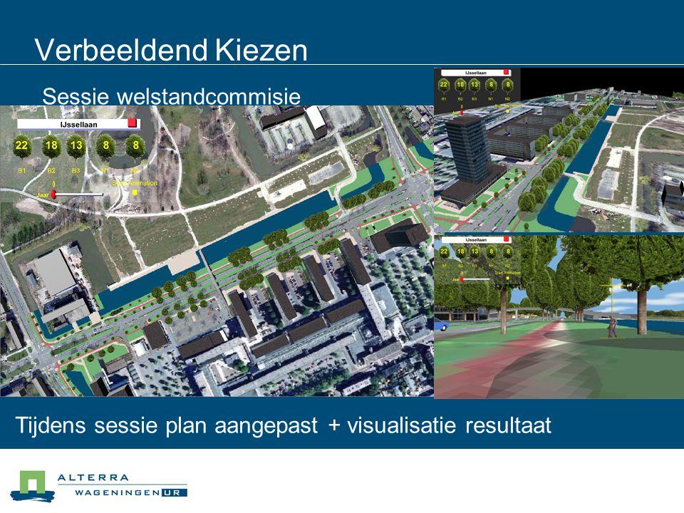 Verbeeldend Kiezen Sessie welstandcommisie Tijdens sessie plan aangepast + visualisatie resultaat