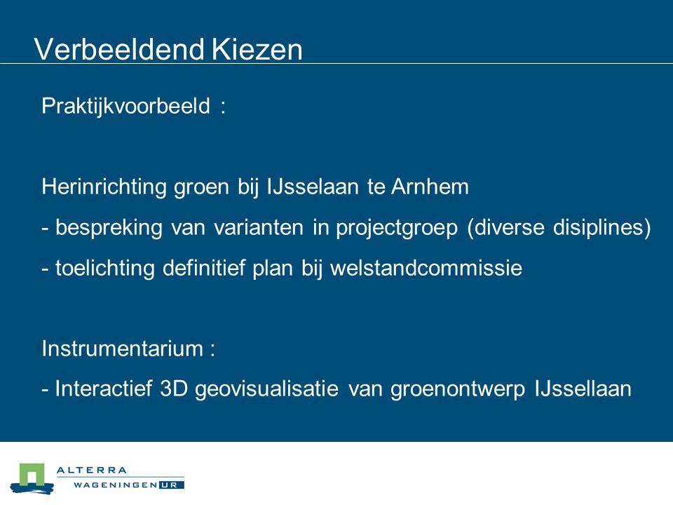 Verbeeldend Kiezen Praktijkvoorbeeld : Herinrichting groen bij IJsselaan te Arnhem - bespreking van varianten in projectgroep (diverse disiplines) - toelichting definitief plan bij welstandcommissie Instrumentarium : - Interactief 3D geovisualisatie van groenontwerp IJssellaan