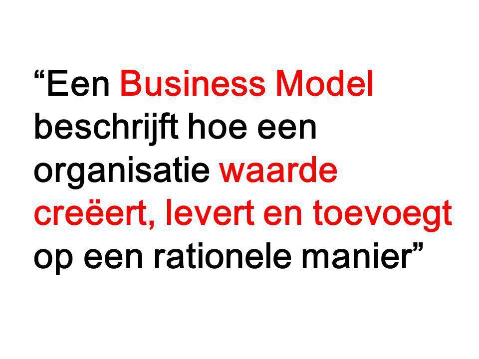 """""""Een Business Model beschrijft hoe een organisatie waarde creëert, levert en toevoegt op een rationele manier"""""""