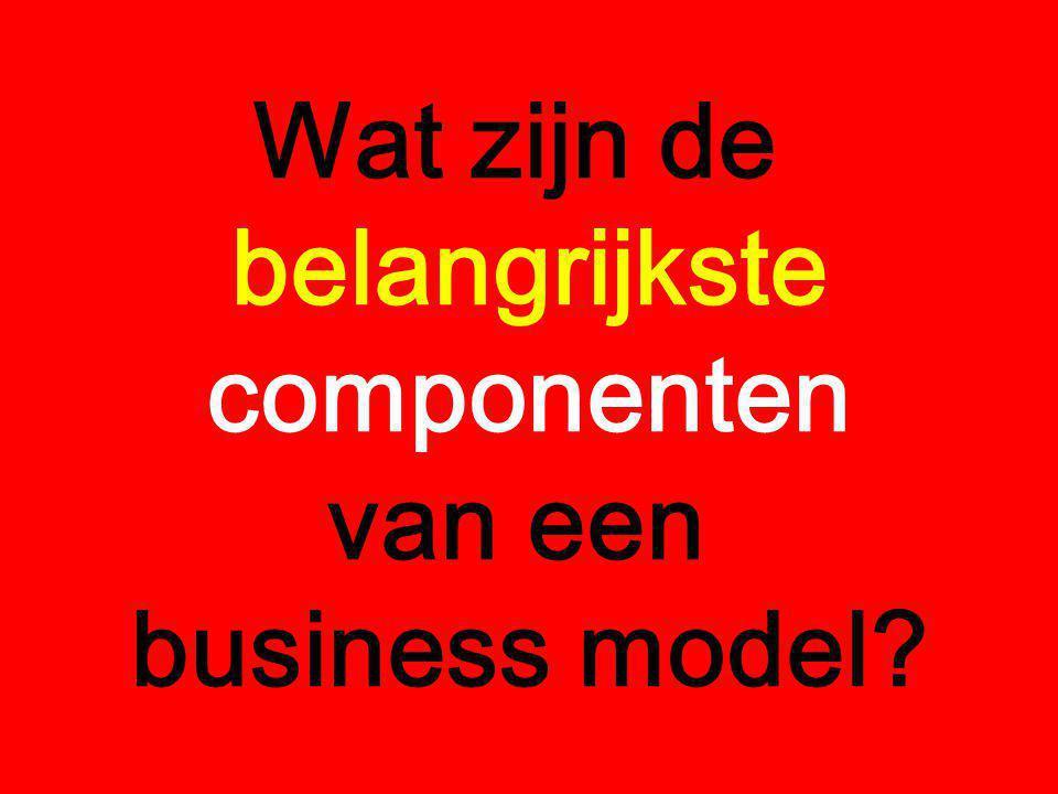 Wat zijn de belangrijkste componenten van een business model?