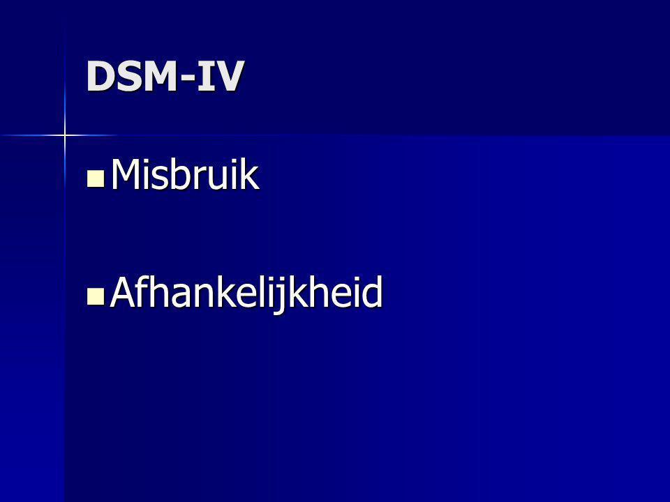 DSM-IV Misbruik Misbruik Afhankelijkheid Afhankelijkheid