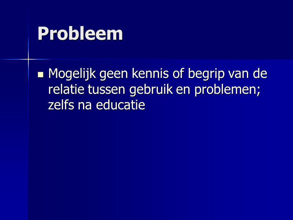 Probleem Mogelijk geen kennis of begrip van de relatie tussen gebruik en problemen; zelfs na educatie Mogelijk geen kennis of begrip van de relatie tu
