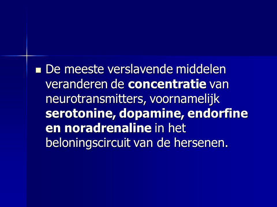 De meeste verslavende middelen veranderen de concentratie van neurotransmitters, voornamelijk serotonine, dopamine, endorfine en noradrenaline in het