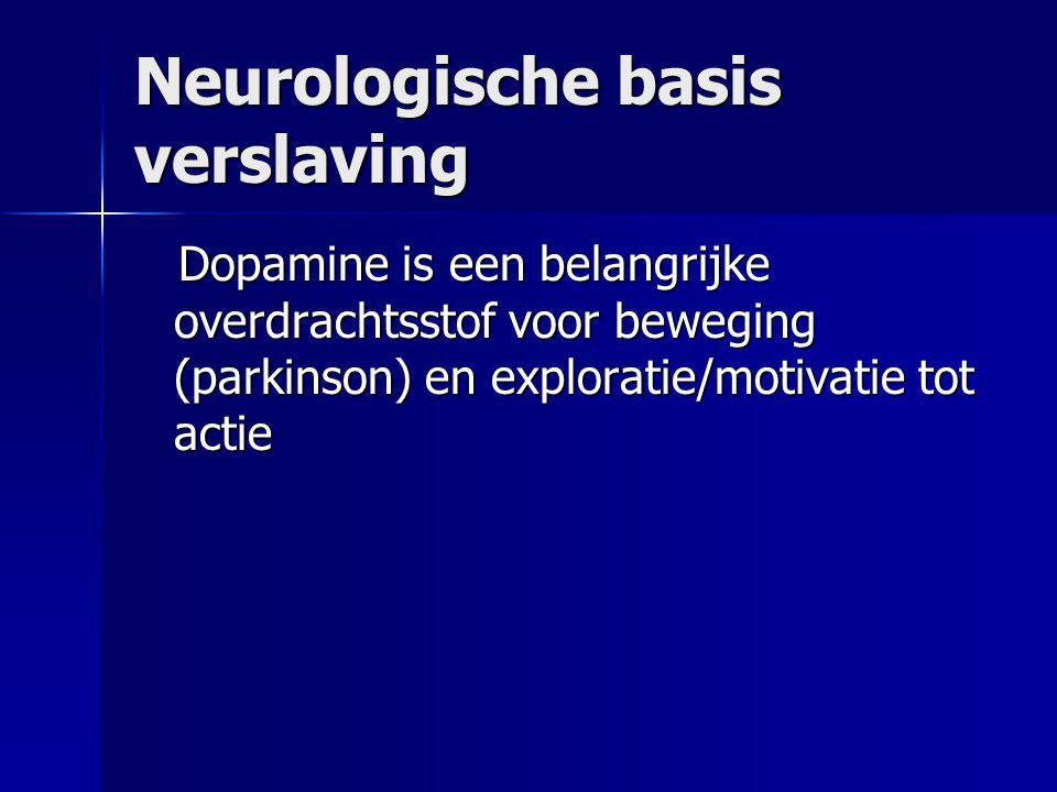Neurologische basis verslaving Dopamine is een belangrijke overdrachtsstof voor beweging (parkinson) en exploratie/motivatie tot actie Dopamine is een