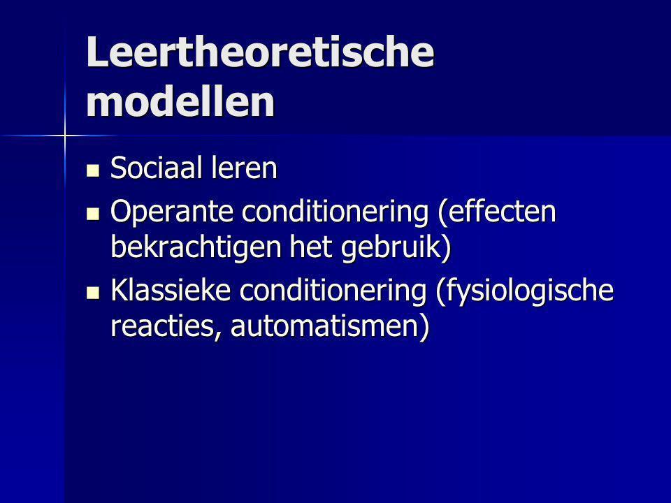 Leertheoretische modellen Sociaal leren Sociaal leren Operante conditionering (effecten bekrachtigen het gebruik) Operante conditionering (effecten be