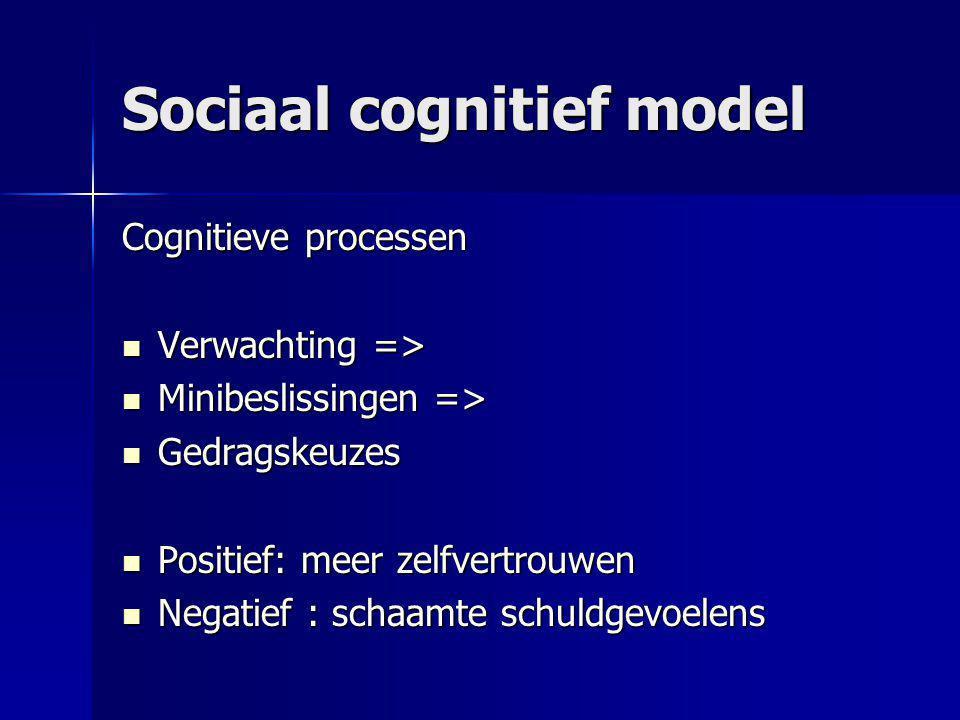 Sociaal cognitief model Cognitieve processen Verwachting => Verwachting => Minibeslissingen => Minibeslissingen => Gedragskeuzes Gedragskeuzes Positie