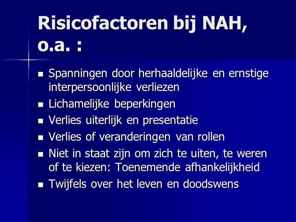 Risicofactoren bij NAH, o.a. : Spanningen door herhaaldelijke en ernstige interpersoonlijke verliezen Spanningen door herhaaldelijke en ernstige inter