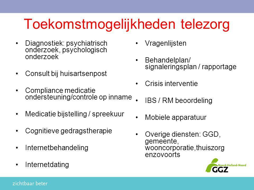 Toekomstmogelijkheden telezorg Vragenlijsten Behandelplan/ signaleringsplan / rapportage Crisis interventie IBS / RM beoordeling Mobiele apparatuur Ov