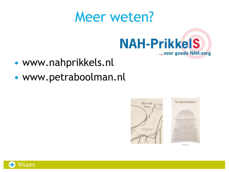 Meer weten www.nahprikkels.nl www.petraboolman.nl