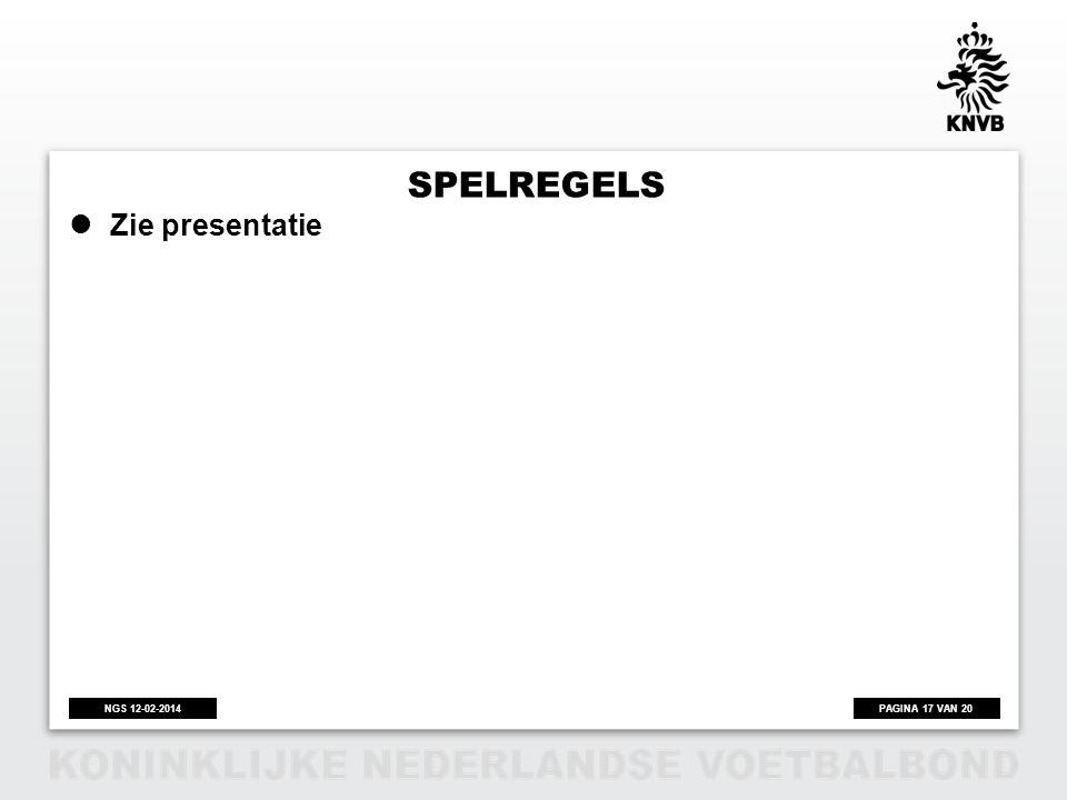 PAGINA 17 VAN 20NGS 12-02-2014 SPELREGELS Zie presentatie