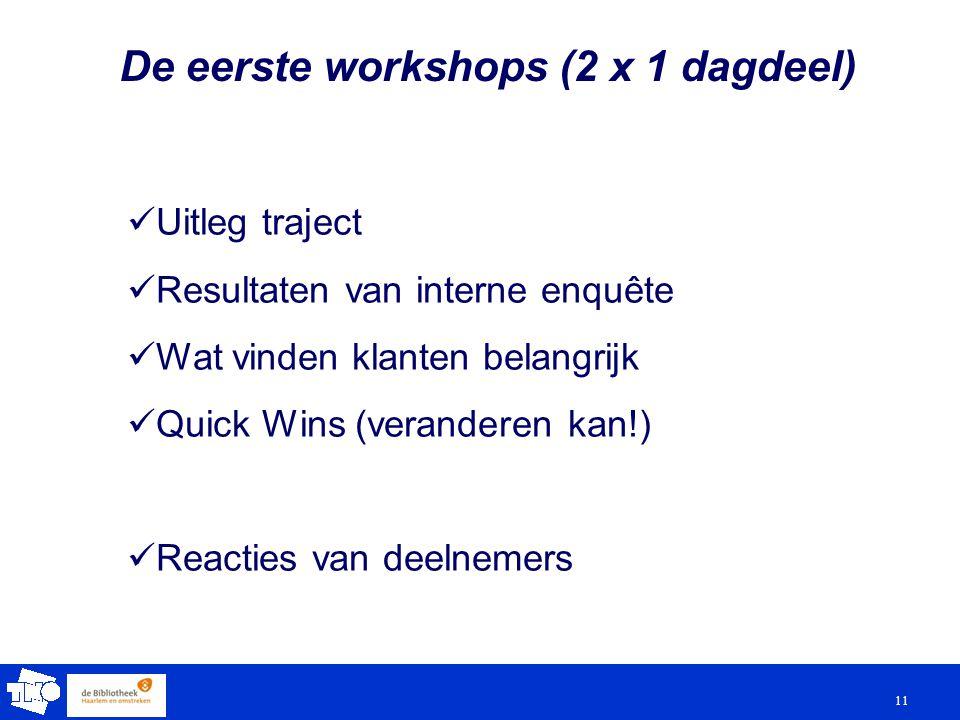 11 De eerste workshops (2 x 1 dagdeel) Uitleg traject Resultaten van interne enquête Wat vinden klanten belangrijk Quick Wins (veranderen kan!) Reacties van deelnemers