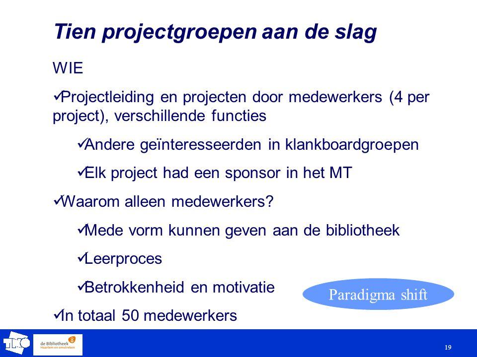 19 Tien projectgroepen aan de slag WIE Projectleiding en projecten door medewerkers (4 per project), verschillende functies Andere geïnteresseerden in klankboardgroepen Elk project had een sponsor in het MT Waarom alleen medewerkers.