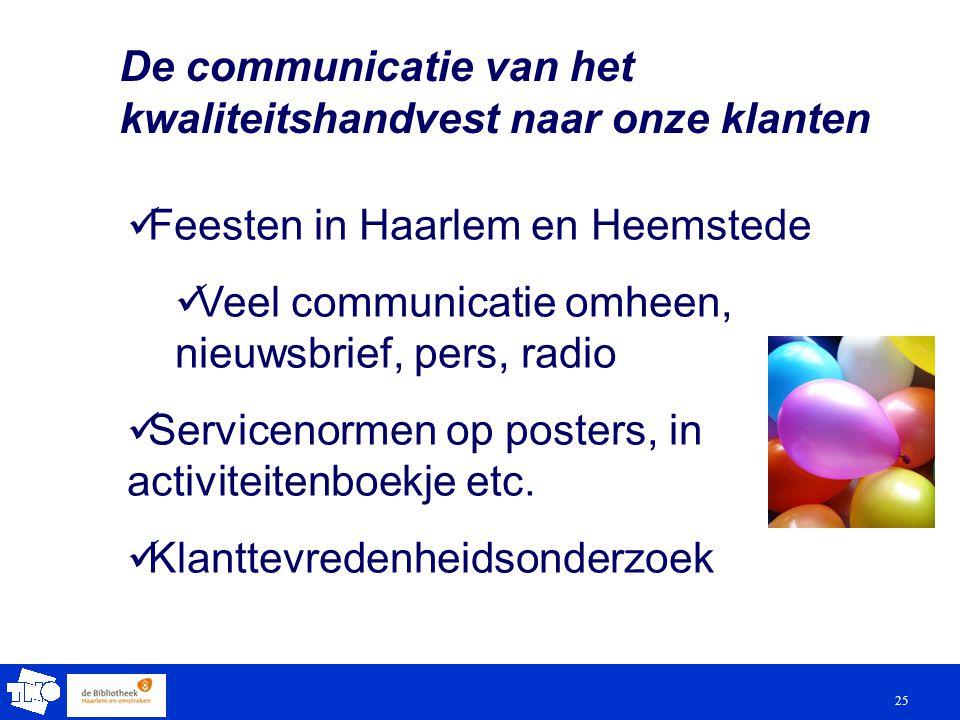 25 De communicatie van het kwaliteitshandvest naar onze klanten Feesten in Haarlem en Heemstede Veel communicatie omheen, nieuwsbrief, pers, radio Servicenormen op posters, in activiteitenboekje etc.