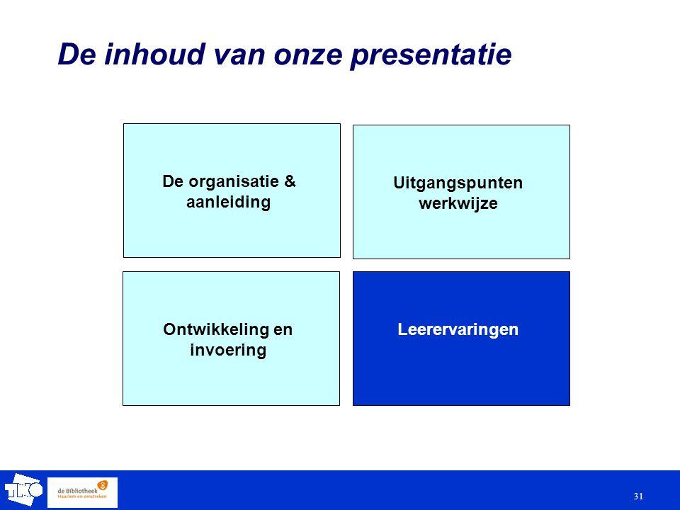 31 De inhoud van onze presentatie De organisatie & aanleiding Uitgangspunten werkwijze LeerervaringenOntwikkeling en invoering