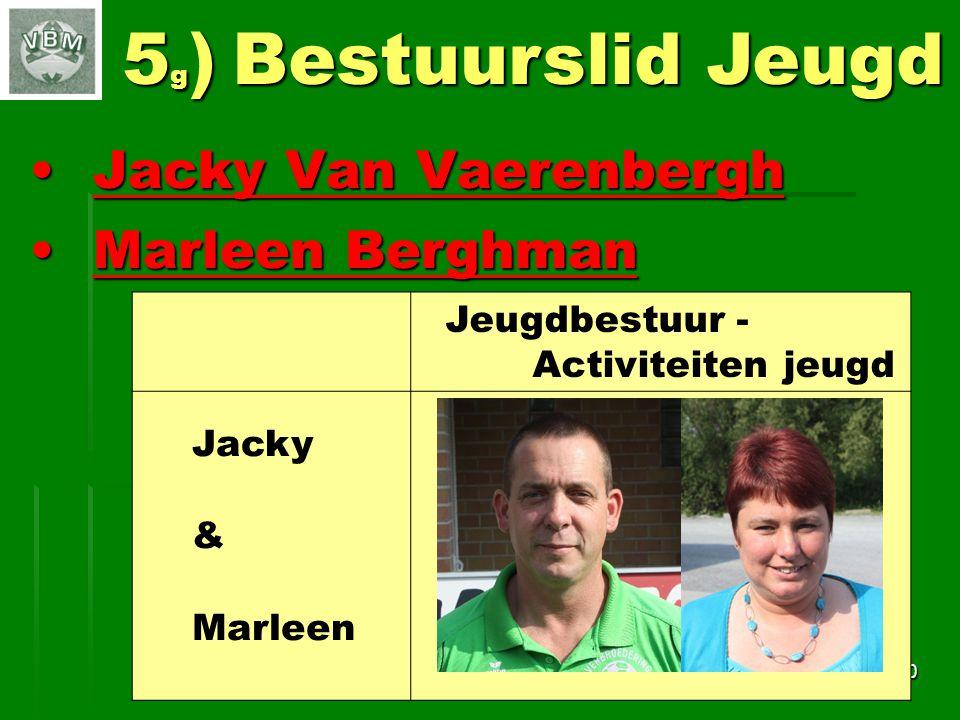 Jacky Van VaerenberghJacky Van Vaerenbergh Marleen BerghmanMarleen Berghman 10 5 g ) Bestuurslid Jeugd Jeugdbestuur - Activiteiten jeugd Jacky & Marleen