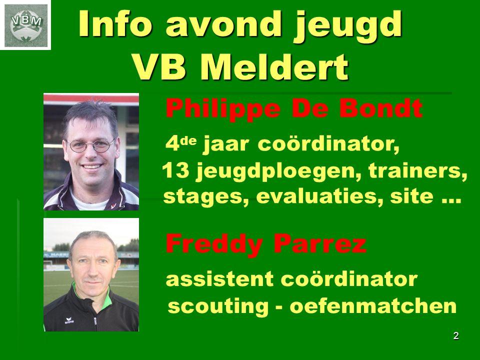 Info avond jeugd VB Meldert 2 Freddy Parrez assistent coördinator scouting - oefenmatchen Philippe De Bondt 4 de jaar coördinator, 13 jeugdploegen, trainers, stages, evaluaties, site...