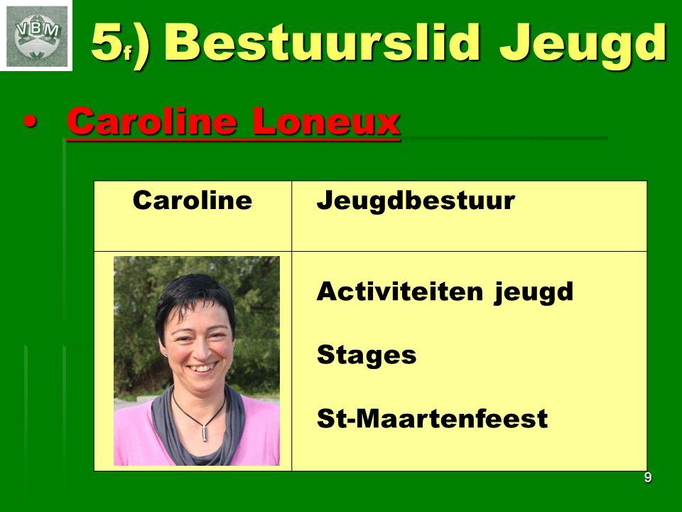Caroline LoneuxCaroline Loneux 9 5 f ) Bestuurslid Jeugd Caroline Jeugdbestuur Activiteiten jeugd Stages St-Maartenfeest