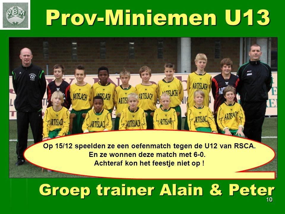 10 Prov-Miniemen U13 Groep trainer Alain & Peter Op 15/12 speelden ze een oefenmatch tegen de U12 van RSCA.