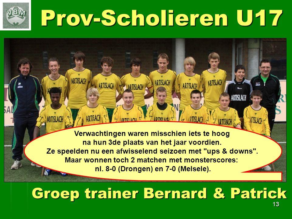 13 Prov-Scholieren U17 Groep trainer Bernard & Patrick Verwachtingen waren misschien iets te hoog na hun 3de plaats van het jaar voordien.