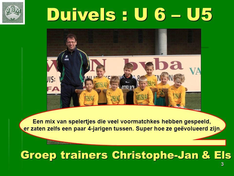 3 Duivels : U 6 – U5 Groep trainers Christophe-Jan & Els Een mix van spelertjes die veel voormatchkes hebben gespeeld, er zaten zelfs een paar 4-jarigen tussen.
