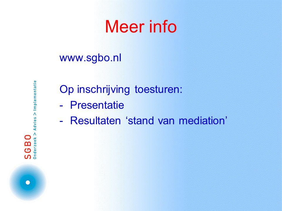 Meer info www.sgbo.nl Op inschrijving toesturen: -Presentatie -Resultaten 'stand van mediation'